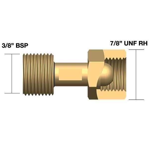 """Adapter TIG 3/8"""" BSP isa x 1/4"""" BSP ema 608538"""